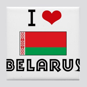 I HEART BELARUS FLAG Tile Coaster